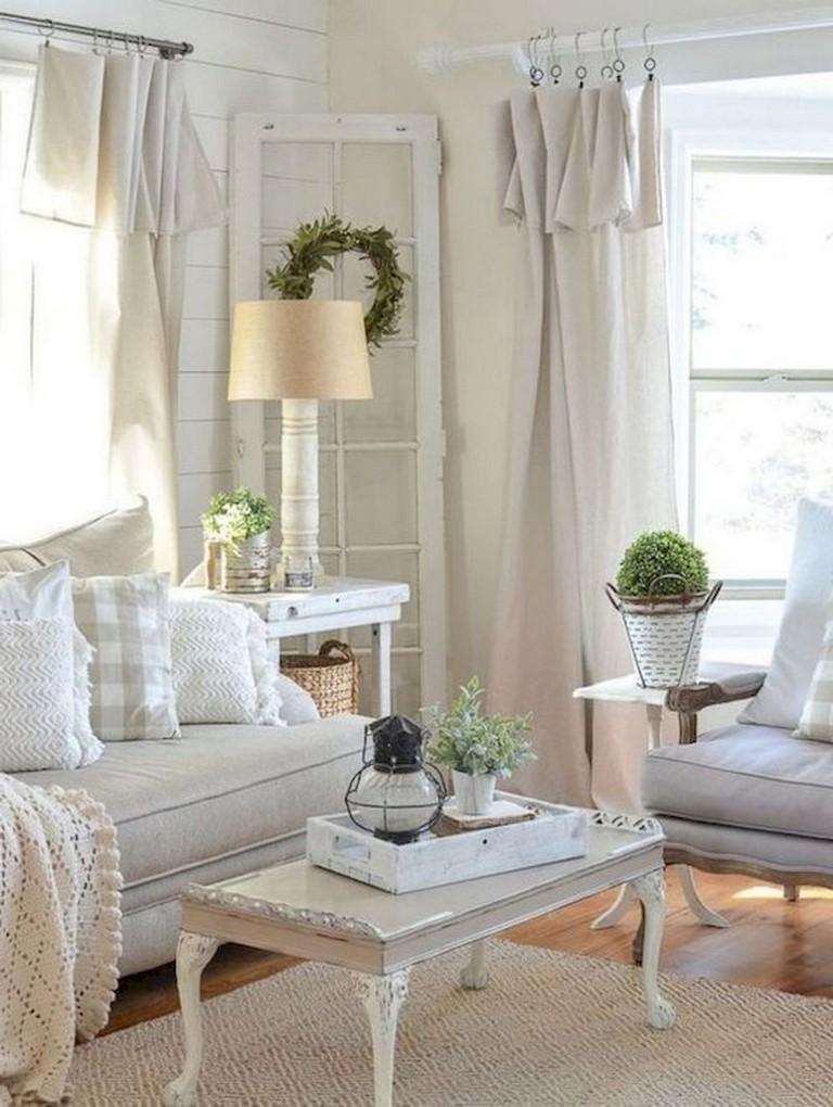 45+ Comfy Modern Farmhouse Living Room Curtains Ideas